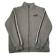 Vintage Puma Grey Soft Cotton Long Sleeve Full Zip Up Track Jacket - Mens Medium