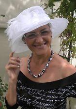 Damenhut traumhafter Organzahut in Weiß  Anlasshut Hochzeit  Ascot Anlasshüte