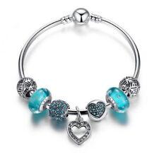 19cm Silver Plated Beatiful Blue Heart European Charm Bracelet Bangle Xmas Gift!