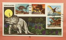 1989 FDC DINOSAURS #2422-2425 COLLINS HANDPAINTED CACHET
