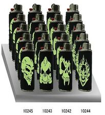 BIC LIGHTER METAL CASE GLOWS IN THE DARK WITH 4 SKULL DESIGNS WITH 3D EFFECT,1PC