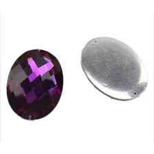 15x 24140 New Charms Purple Faceted Charms Sew-on Resin Flatback Beads 30x40mm