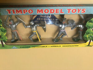 1960's TIMPO MEDIEVAL KNIGHTS  in Display Box. Silver w Green Bases.Mint-England
