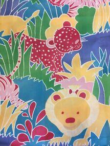 Pastel Safari Big Cats Lions Tigers Nursery Baby Polycotton Fabric Half Metre