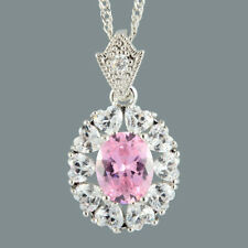 Oval Pink Sapphire Heart CZ 18K White Gold Plated Slide Pendant Necklace Chain