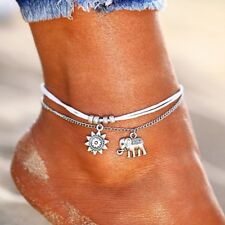 SILVER PLATED WHITE WRAP SUN ELEPHANT BOHO CHAIN  ANKLET BEACH HOLIDAY UK SELLER