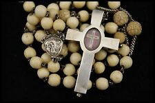 † DNJC TRUE CROSS + ST BRUNO CARTHUSIANS RELIQUARY STERLING THECA HUGE ROSARY †