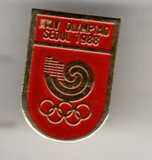 SEOUL 1988 OLYMPIC GAMES. OLYMPIC GAMES. EMBLEM OF THE XXIV OLYMPIAD. RED