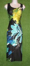 Gabby Skye Black Aqua Blue Yellow Floral Cocktail Social Dress 12 $98