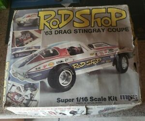 1/16 MPC Rod Shop '63 Drag Stingray Coupe. Parts only kit. Not complete.