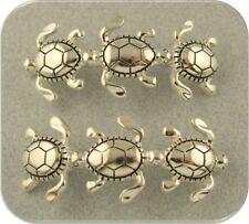 2 Hole Beads Sea Turtle Loggerhead OCEAN SEA Sand ~ Silver Metal Sliders QTY 2