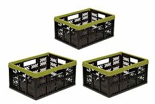 3 x Foldable box 32 L green / black Folding Crate Transport Shopping basket