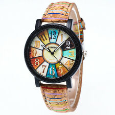 Women's Mens Harajuku Graffiti Vintage Leather Analog Quartz Vogue Wrist Watches