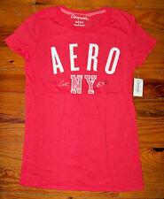 New! Women's Juniors AEROPOSTALE Dark Pink & White Sparkle Logo Shirt Medium