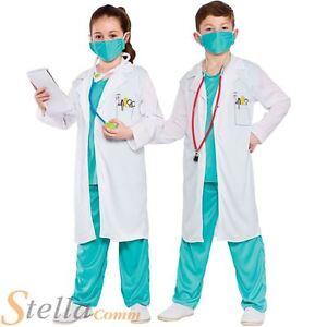 Child Hospital Doctor Nurse Surgeon Scrubs Fancy Dress Costume Boys Girls Outfit