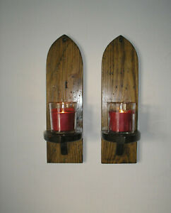 A pair of 14'' home made rustic gothic wall sconces/candle holders