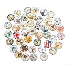 50 Mixte Cabochons Verre Rond Couleurs Toutes Sortes Horloge Décoratif 2cm