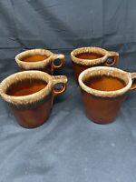 Vintage Hull Oven Proof USA, Brown Drip Glaze Pottery Coffee Mug, Set Of 4