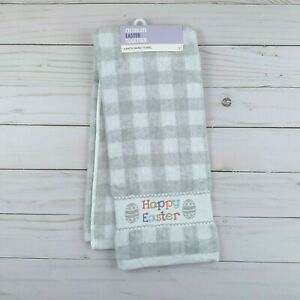 Guest Bath Hand Towel Happy Easter Plaid Gray Terry Cloth