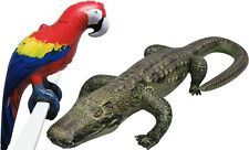2 Inflatable Alligator Crocodile Parrot Macaw Tropical Animals Toy Pool Gift