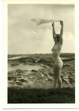 Beautiful nude woman beach waving with towel abstract fine art snapshot c. 1950