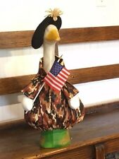Goose Clothes: Military Camo Goose Waving Old Glory by Silly Goose