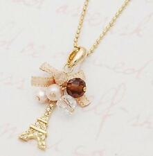 CA Hot Eiffel Tower Pendant With Necklace Golden Plated Chain Fashion Jewelry