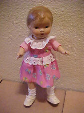 "Unmarked 10"" Adorable Compostition Antique Doll Nice Condition Pink Dress"