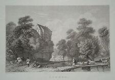 Burg Lohmen Sachsen echter alter Stahlstich 1850