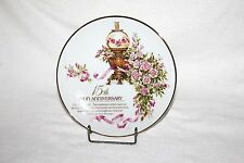 Vtg 1989 The Avon Rose 15th Anniversary Collectible Decorative Plate 22K Gold