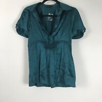 BCBG Maxazria Womens Blouse Lot Of 2 Blue Brown Short Sleeve Top SIze M