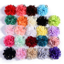 Big Chiffon Headband Flower with Gold Dot for Baby Hair Accessories 10cm 30pcs