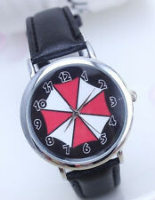 RESIDENT EVIL UMBRELLA LOGO Genuine Leather Band ROUND FACE WRIST WATCH