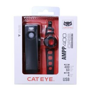 Cateye AMPP 400 Front Orb Rear rechargeable light set. cycling Road MTB. NEW
