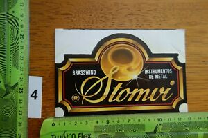 Alter Aufkleber Musikinstrument Metall Trompete Tuba STOMVI Brasswind