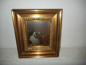 Very old oil painting, +- 1880,{ Two woman reading a letter, nice frame }.