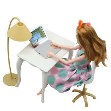 Desk Lamp Chair Laptop Set For Barbie Dolls Miniature Furniture Dollhouse Decor