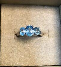 2.92CTW Oval Blue Zircon Sterling Silver 3-stone Ring #NPH008 Size 8