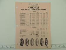 Vintage 1968 Goodyear Motorcycle Tire Price List Harley Triumph Norton L1200