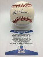 Bob Lemon Signed AUTOGRAPH OMLB Official AL Brown Baseball BAS BECKETT C22934