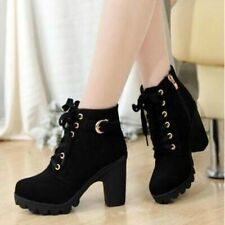 Winter Women's Elegant Lace Up Platform High Heel Shoes Short Ankle Martin Boots