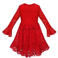 Robe de soirée demoiselle d'honneur en dentelle à manches longues pour filles