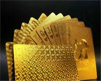 Wasserdicht Spielkarten Deck Magie Karte Gold Folie Poker Überzogen Kunstst X2T1
