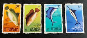 Uganda 🇺🇬 fishes - 4 canceled stamps