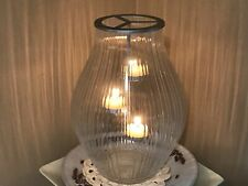 Large Partylite Ribbed Glass Hurricane With Hanging Tea Light Candle Holder