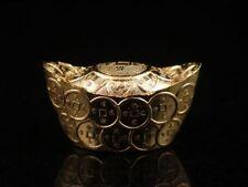Gold Gilt Chinese Feng-Shui Yuan-Bao Ingot Old Coins Surrounding Home Decor Chi