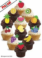 PRE-CUT FRUITS MIX EDIBLE WAFER PAPER CUP CAKE TOPPERS SUMMER PARTY DECORATIONS