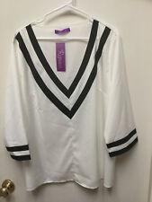 NWT Romacci Women's Plus Size 5XL Creamy White and Black Tunic Top 100% Poly