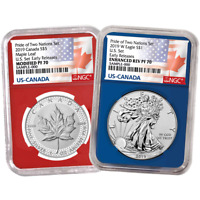 2019 Pride of Two Nations 2pc. Set U.S. Set NGC PF70 ER Flags Label Red Blue