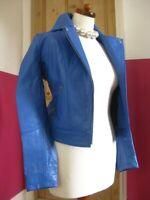 Ladies MYLEENE KLASS real Leather short fitted slim Biker Racer Jacket blue UK 8